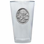 Brown Bear with Fish Pint Beer Glasses with Pewter Accent, Set of 2