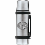 Brown Bear with Fish Stainless Steel Thermos with Pewter Accent