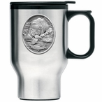 Brown Bear with Fish Stainless Steel Travel Mug with Handle and Pewter