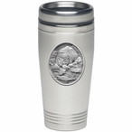 Brown Bear with Fish Stainless Steel Travel Mug with Pewter Accent