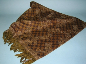Brown Check Pattern Wool Throw Blanket, Set of 2