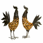 Brown & Orange Metalwork Rooster Sculptures, Set of 2