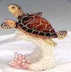 Brown Turtle on Coral Statues, Set of 2