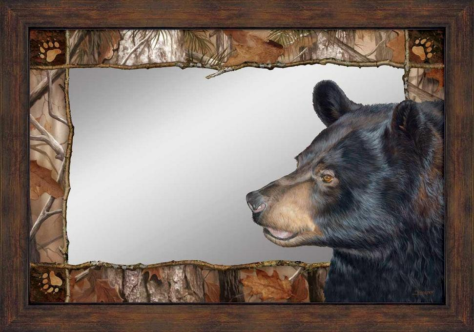 Bruin Bear Wall Mirror with Wood Frame - Wall Decor - Wild Wings