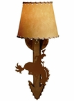 Bucking Bronco Rider Arrow Metal Wall Sconce with Shade