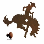 Bucking Bronco Rider Metal Drawer Pull with Back Plate