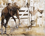 Bucking Bronco Rider Wrapped Canvas Giclee Print Wall Art