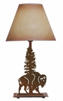 Buffalo and Tree Metal Table Lamp with Shade