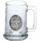 Buffalo Glass Beer Mug with Pewter Accent