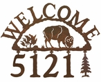 Buffalo Metal Address Welcome Sign