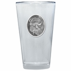 Buffalo Pint Beer Glasses with Pewter Accent, Set of 2