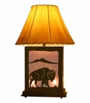 Buffalo Scenic Metal Table Lamp with Night Light