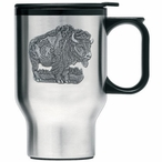 Buffalo Stainless Steel Travel Mug with Handle and Pewter Accent