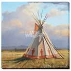 Building Clouds Teepee Wrapped Canvas Giclee Print Wall Art