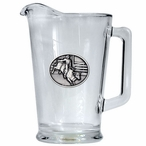 Bull Rider Glass Pitcher with Pewter Accent