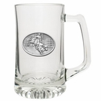 Bull Rider Glass Super Beer Mug with Pewter Accent