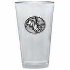 Bull Rider Pint Beer Glasses with Pewter Accent, Set of 2