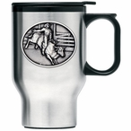 Bull Rider Stainless Steel Travel Mug with Handle and Pewter Accent