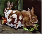 Bunnies with Peas & Carrots Wrapped Canvas Giclee Print Wall Art