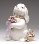 Bunny Rabbit with Flower Bouquet Musical Music Box Sculpture