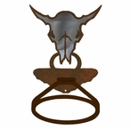 Burnished Buffalo Skull Metal Bath Towel Ring
