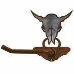 Burnished Buffalo Skull Metal Toilet Paper Holder