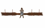 Burnished Cowgirl Drawing Pistol Four Hook Metal Wall Coat Rack