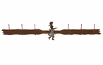 Burnished Cowgirl with Pistol Six Hook Metal Wall Coat Rack