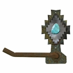 Burnished Desert Diamond with Turquoise Stone Metal Toilet Paper Holder