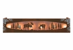 Burnished Moose Family in the Forest Six Light Metal Vanity Light