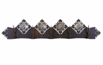Burnished Picture Jasper Stone Five Hook Metal Wall Coat Rack