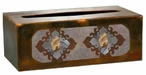 Burnished Picture Jasper Stone Metal Flat Tissue Box Cover