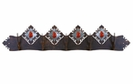 Burnished Red Jasper Stone Five Hook Metal Wall Coat Rack