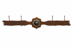 Burnished Round Copper Berry Concho Four Hook Metal Wall Coat Rack