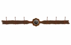 Burnished Round Copper Berry Concho Six Hook Metal Wall Coat Rack