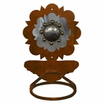 Burnished Round Old Silver Berry Concho Metal Bath Towel Ring