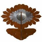Burnished Sunburst Concho Double Metal Wall Hook