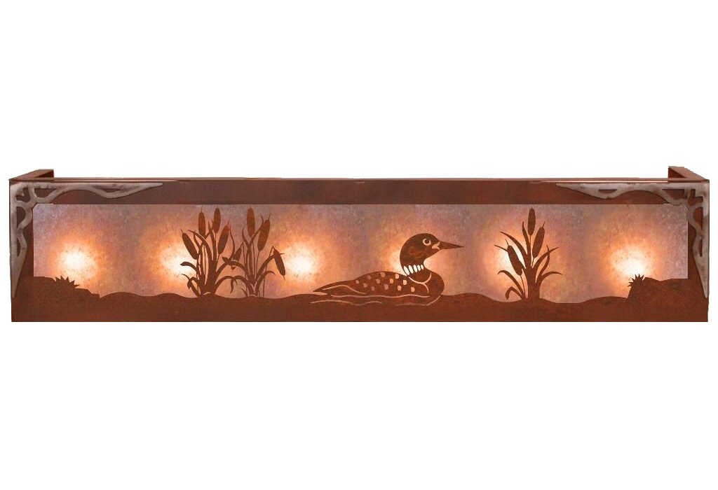 Vanity Lights Rustic : Burnished Swimming Loon Six Light Metal Vanity Light - Rustic Light Fixture