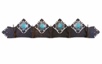 Burnished Turquoise Stone Five Hook Metal Wall Coat Rack