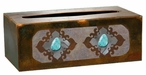 Burnished Turquoise Stone Metal Flat Tissue Box Cover