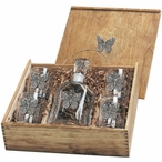 Butterfly Capitol Decanter & DOF Glasses Box Set with Pewter Accents