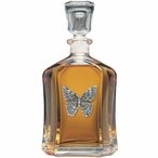 Butterfly Capitol Glass Decanter with Pewter Accents