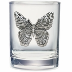 Butterfly Pewter Accent Double Old Fashion Glasses, Set of 2