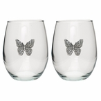 Butterfly Pewter Accent Stemless Wine Glass Goblets, Set of 2