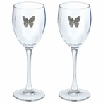 Butterfly Pewter Accent Wine Glass Goblets, Set of 2