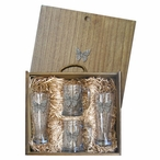 Butterfly Pilsner Glasses & Beer Mugs Box Set with Pewter Accents