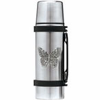 Butterfly Stainless Steel Thermos with Pewter Accent