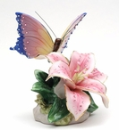 Butterfly with Lily Flower Musical Music Box Sculpture