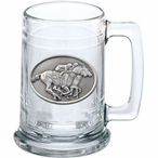 By A Nose Horse and Jockey Glass Beer Mug with Pewter Accent