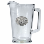 By A Nose Horse and Jockey Glass Pitcher with Pewter Accent